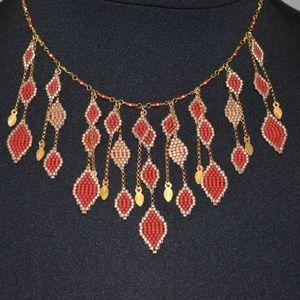 CHAN LUU DIAMOND DROP BEADED GOLD VERMEIL NECKLACE